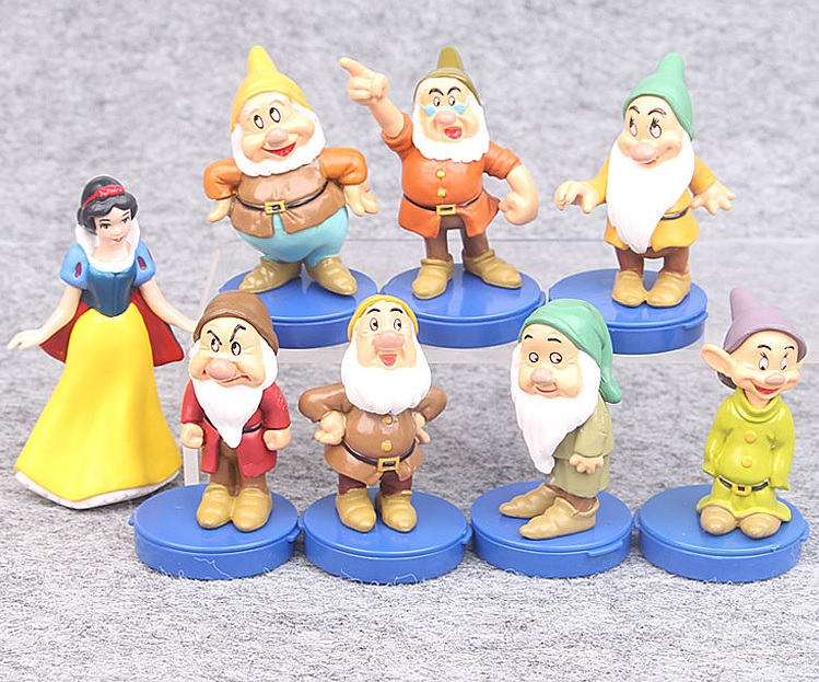 7 Dwarfs & Snow White Blue Bases CAKE TOPPER Sneezy Grumpy Doc Sleepy Bashful 8 Figure Set Birthday Party Cupcakes Figurines Disney * FAST Shipping * Toy Doll Set
