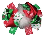 "NEW /""CIRCUS POLKA-DOT/"" Fur Hairbow Alligator Clips Girls Ribbon Bows 5.5 Inches"