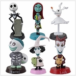 Nightmare Before Christmas CAKE TOPPER Jack Skellington Sally 6 Figure Set Birthday Party Cupcakes Figurines * FAST Shipping * Bobble Heads Toy Doll Set