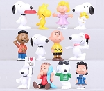 SNOOPY Peanuts CAKE TOPPER Charlie Brown Woodstock Lucy Linus 12 Figure Set Birthday Party Cupcakes Mini Figurines * Fast Shipping * Toy Doll Set
