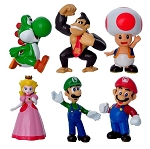 Mario Bros CAKE TOPPER Princess Peach Luigi Yoshi Donkey Kong 6 Figure Set Birthday Party Cupcakes Mini Figurines Super Nintendo * FAST Shipping * Toy Doll Set