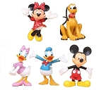 Red Minnie Mickey Mouse CAKE TOPPER Daisy Donald Pluto 5 Figure Set Birthday Party Cupcakes Figurines Disney * FAST Shipping * Toy Doll Set