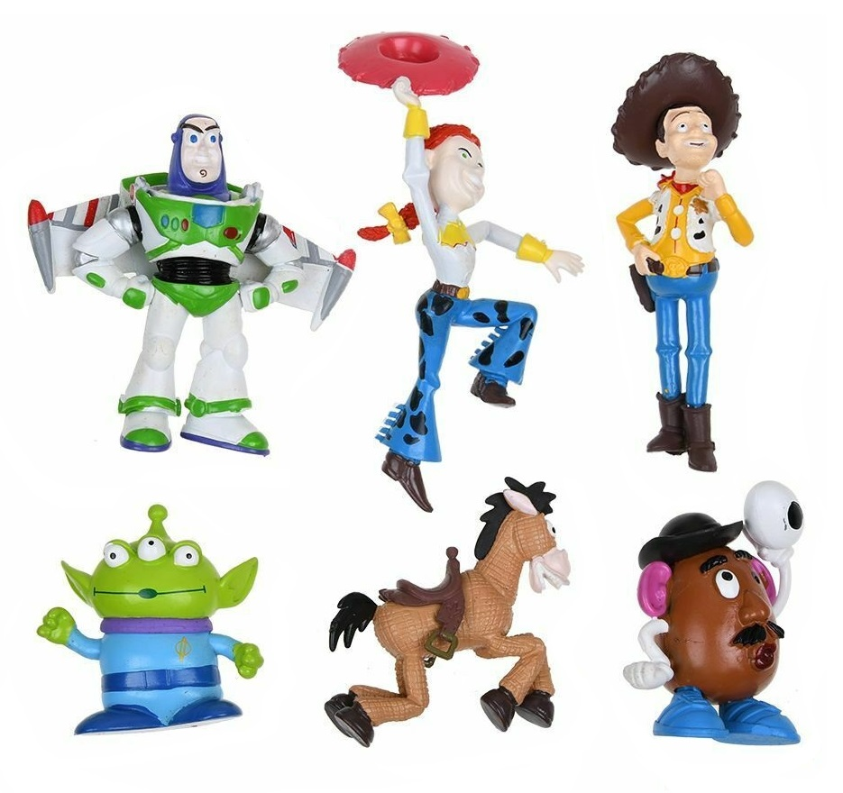6pc Toy Story CAKE TOPPER Woody Buzz Lightyear Jessie Bullseye 6 Figure Set Birthday Party Cupcakes Figurines Disney * FAST Shipping * Toy Doll Set Mr. Potato Head Alien