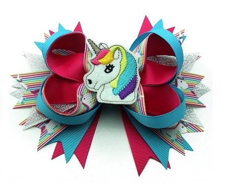 "NEW ""UNICORN Rainbow"" Alligator Clips Girls Ribbon Hair Bows Birthday Horse Pony"