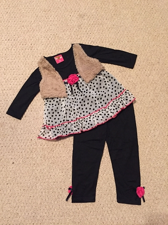 "NEW ""BLACK Rose Dot"" Vest & Pants Girls 6X Fall Winter Clothes Baby Boutique Kids Outfits"