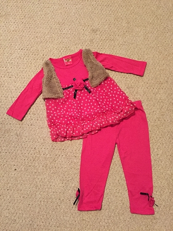 "NEW ""PINK Rose Dot"" Vest & Pants Girls 24m Fall Winter Clothes Baby Boutique Kids Outfits"