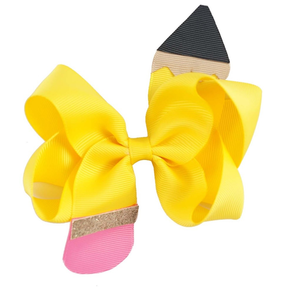 "NEW ""Yellow Pencil"" Hair Bow Pony Tail Grosgrain Ribbon Girls Cheerleading Dance Practice Football Games Uniform Back to School"