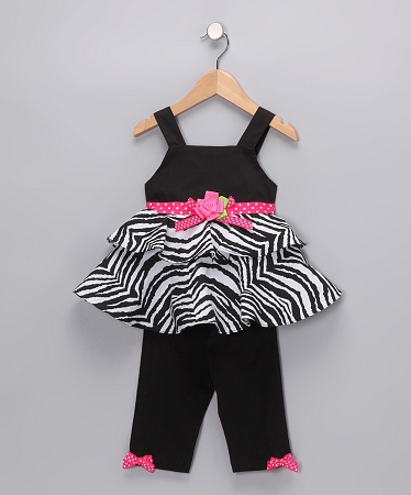 "NEW ""ZEBRA ROSE BOW"" Capri Pants Girls 4 Spring Summer Clothes Boutique Kids Rare Editions"