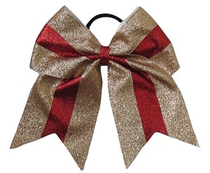 new glitter gold red cheer bow pony tail 3 ribbon girls hair bows cheerleading dance practice football games competition birthday christmas
