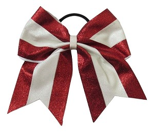 new glitter red white cheer bow pony tail 3 ribbon girls hair bows cheerleading dance practice football games competition birthday christmas